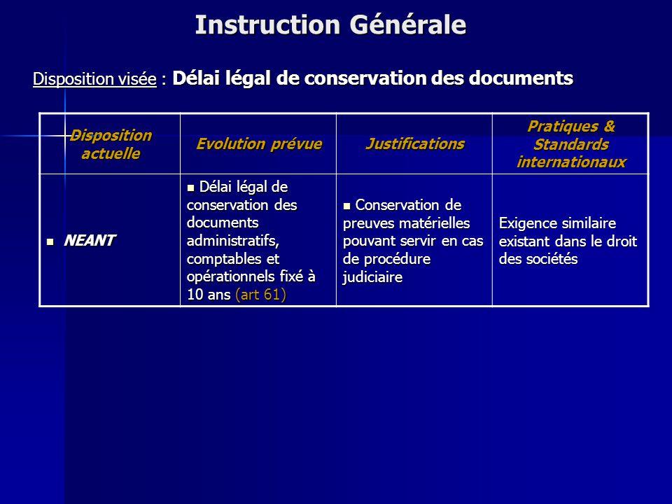 Disposition actuelle Evolution prévue Justifications Pratiques & Standards internationaux NEANT Définition et précision des conditions d'exercice du m