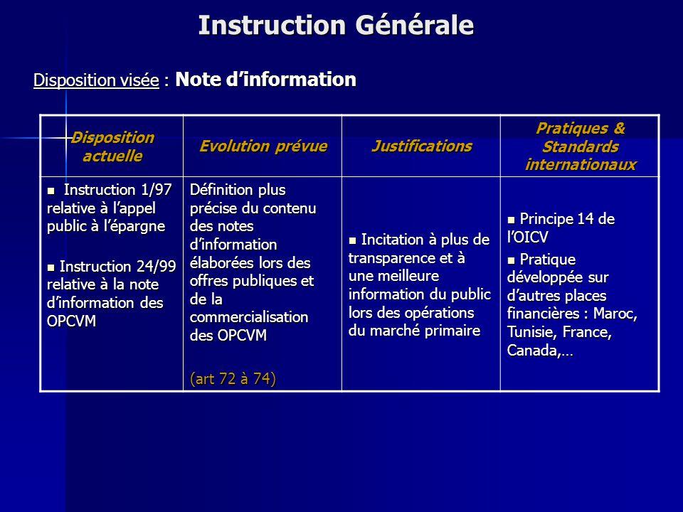 Disposition actuelle Evolution prévue Justifications Pratiques & Standards internationaux NEANT NEANT Détermination des types de livres et registres,