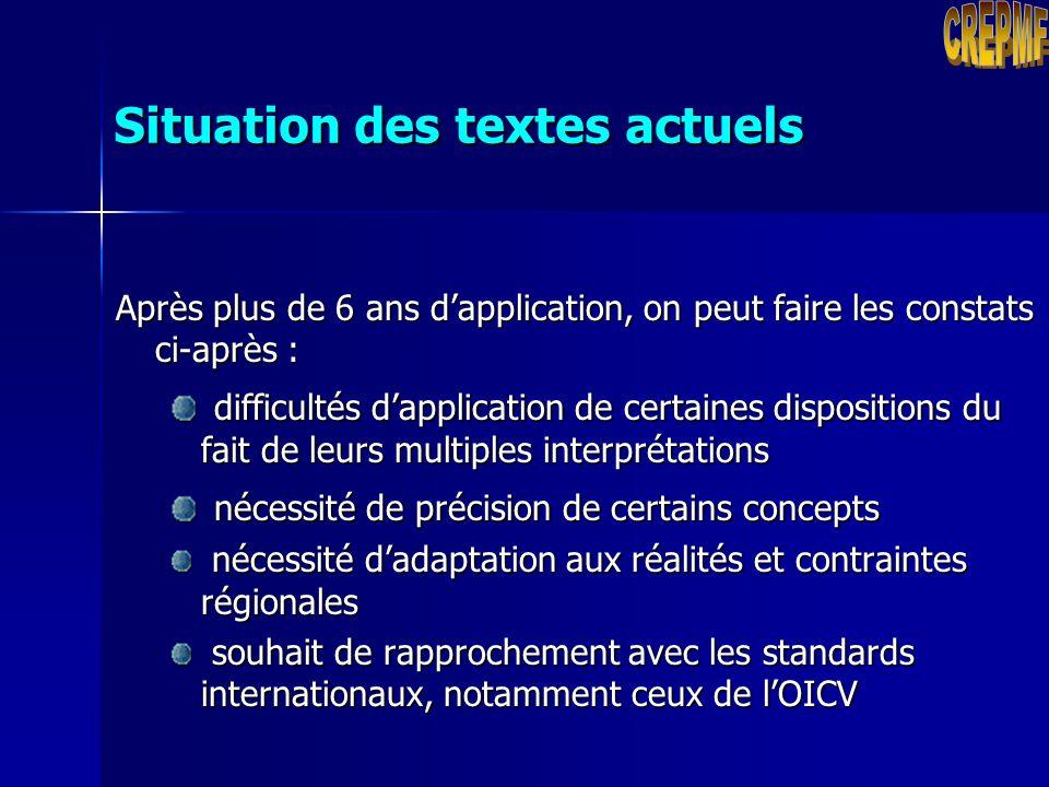 Situation des textes actuels Au démarrage de ses activités, le MFR a été doté du dispositif réglementaire suivant : une Convention portant création du