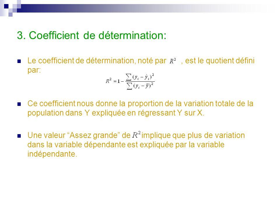 3. Coefficient de détermination: Le coefficient de détermination, noté par, est le quotient défini par: Ce coefficient nous donne la proportion de la