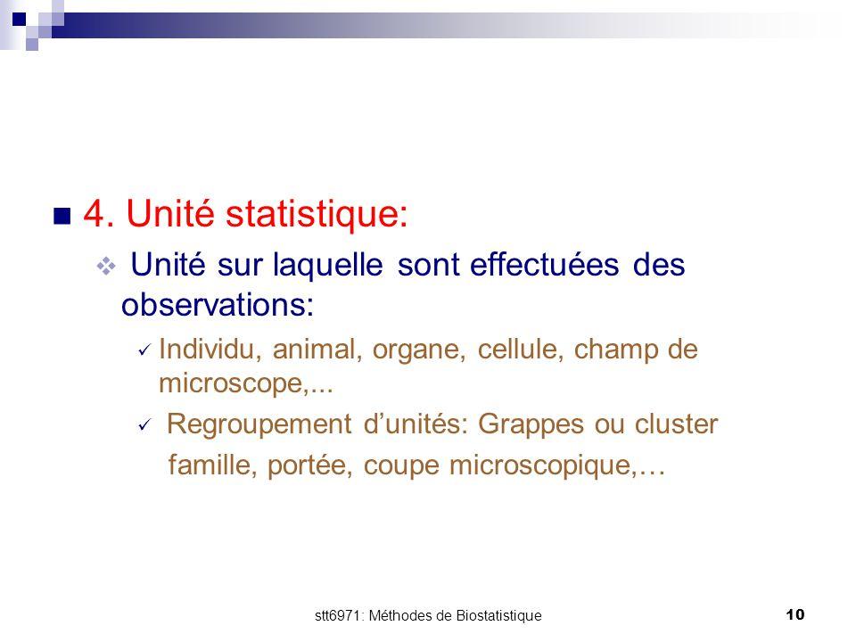 stt6971: Méthodes de Biostatistique10 4. Unité statistique:  Unité sur laquelle sont effectuées des observations: Individu, animal, organe, cellule,