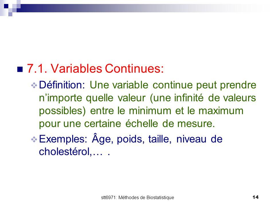 stt6971: Méthodes de Biostatistique14 7.1. Variables Continues:  Définition: Une variable continue peut prendre n'importe quelle valeur (une infinité