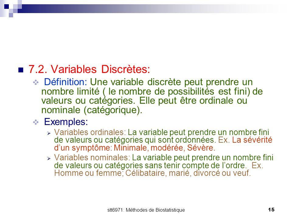 stt6971: Méthodes de Biostatistique15 7.2. Variables Discrètes:  Définition: Une variable discrète peut prendre un nombre limité ( le nombre de possi