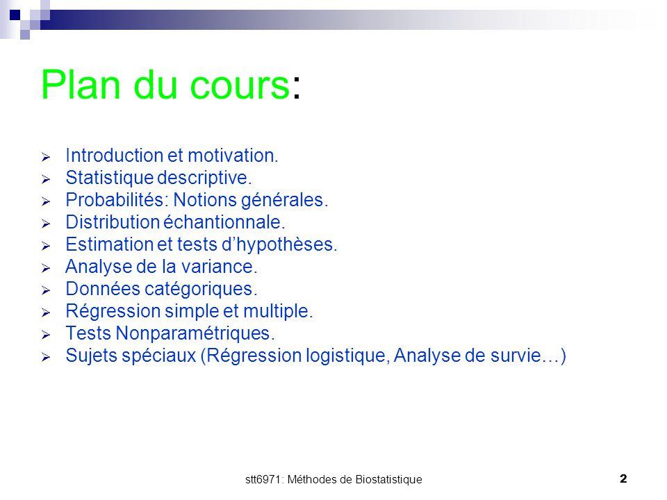 stt6971: Méthodes de Biostatistique2 Plan du cours:  Introduction et motivation.  Statistique descriptive.  Probabilités: Notions générales.  Dist