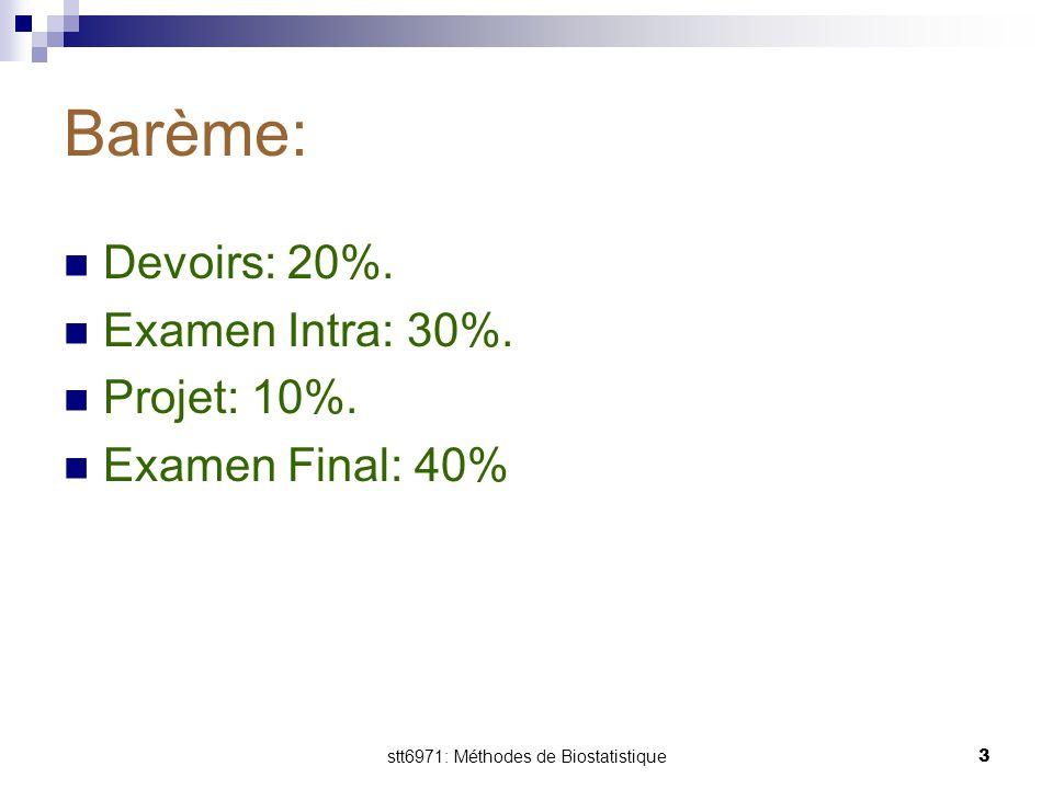 stt6971: Méthodes de Biostatistique3 Barème: Devoirs: 20%. Examen Intra: 30%. Projet: 10%. Examen Final: 40%