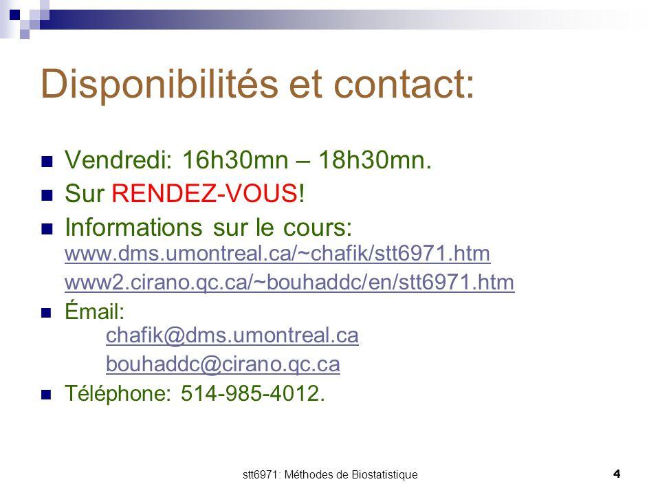stt6971: Méthodes de Biostatistique4 Disponibilités et contact: Vendredi: 16h30mn – 18h30mn. Sur RENDEZ-VOUS! Informations sur le cours: www.dms.umont