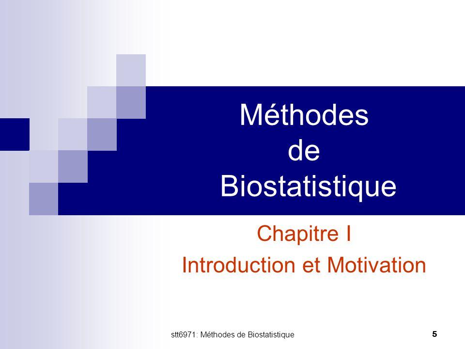 stt6971: Méthodes de Biostatistique 5 Méthodes de Biostatistique Chapitre I Introduction et Motivation
