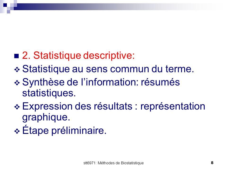stt6971: Méthodes de Biostatistique8 2. Statistique descriptive:  Statistique au sens commun du terme.  Synthèse de l'information: résumés statistiq