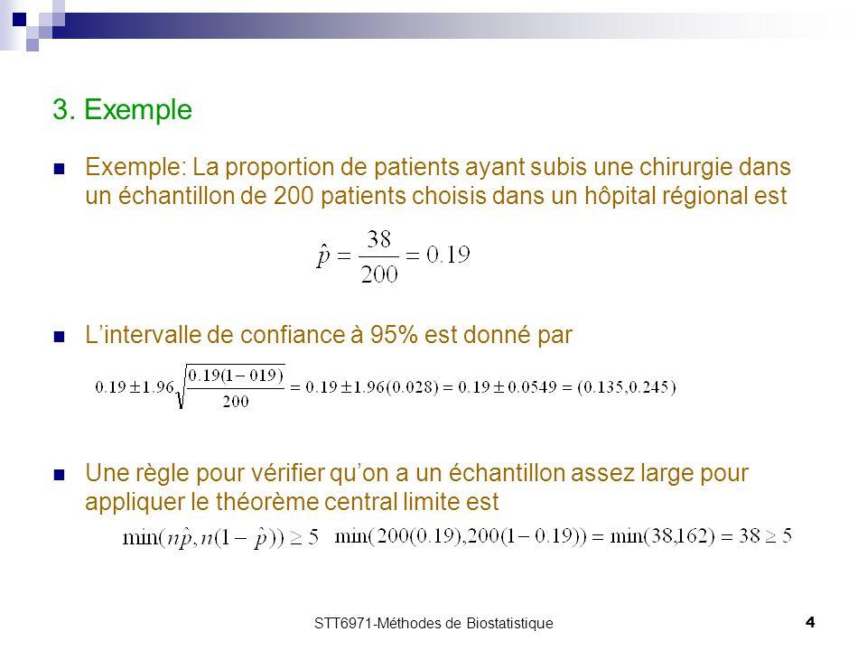 STT6971-Méthodes de Biostatistique4 3. Exemple Exemple: La proportion de patients ayant subis une chirurgie dans un échantillon de 200 patients choisi