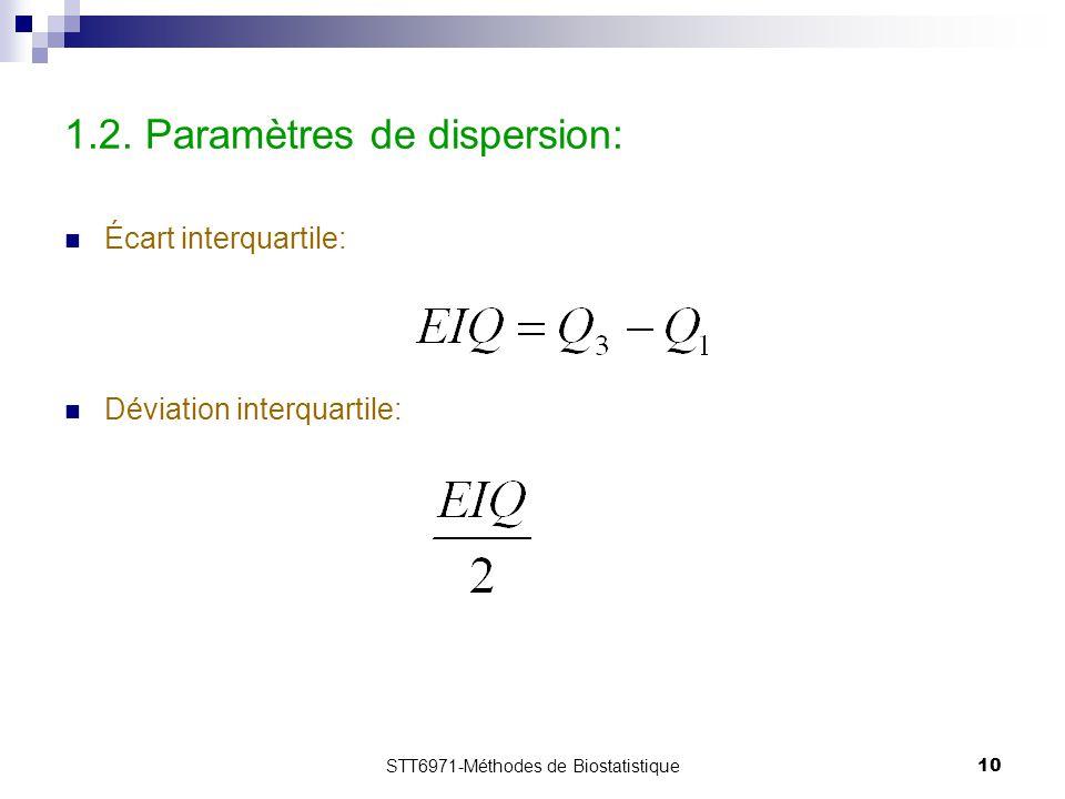 STT6971-Méthodes de Biostatistique10 1.2. Paramètres de dispersion: Écart interquartile: Déviation interquartile: