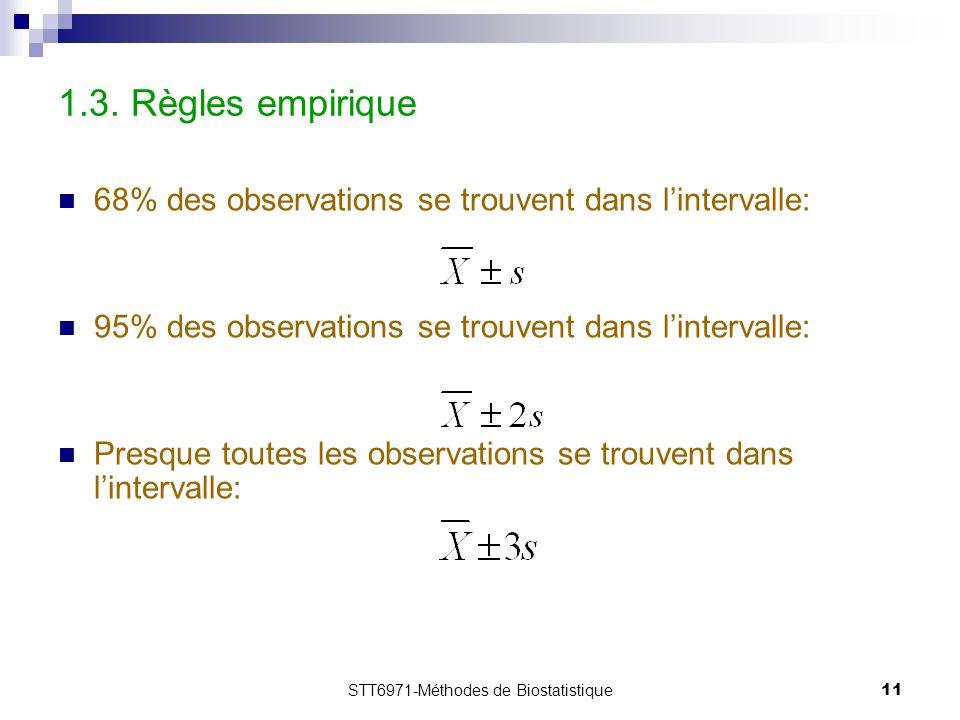 STT6971-Méthodes de Biostatistique11 1.3. Règles empirique 68% des observations se trouvent dans l'intervalle: 95% des observations se trouvent dans l