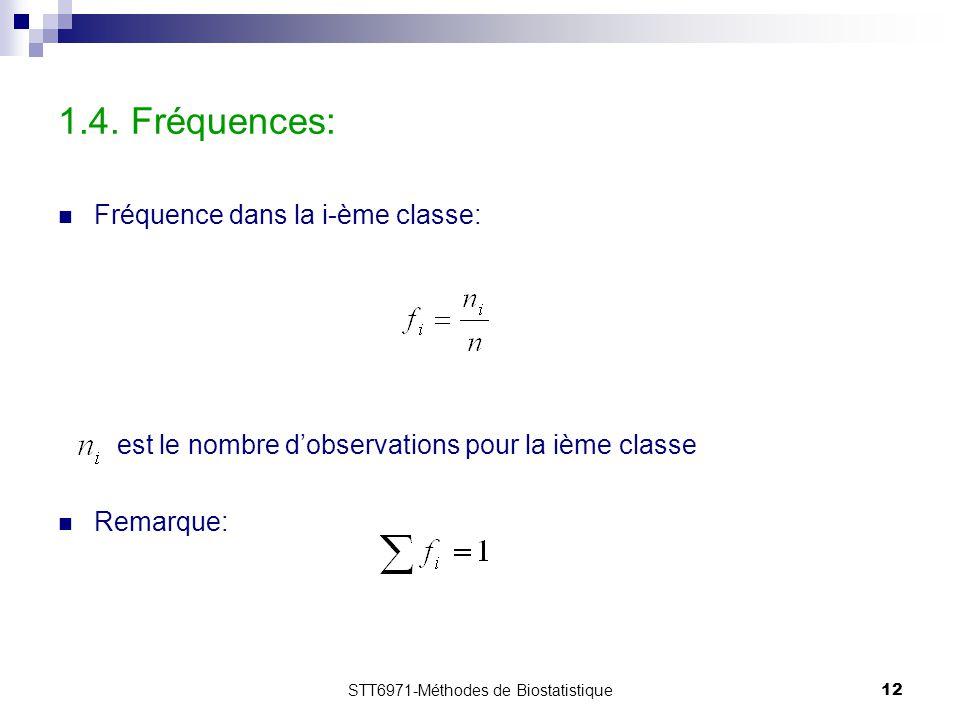 STT6971-Méthodes de Biostatistique12 1.4. Fréquences: Fréquence dans la i-ème classe: est le nombre d'observations pour la ième classe Remarque: