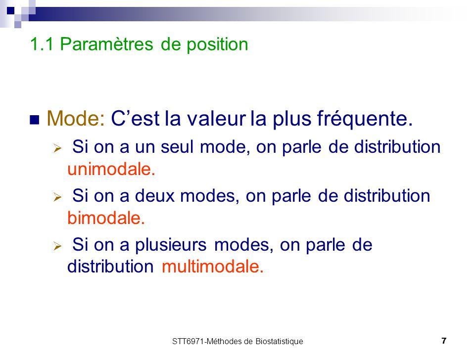 STT6971-Méthodes de Biostatistique7 1.1 Paramètres de position Mode: C'est la valeur la plus fréquente.  Si on a un seul mode, on parle de distributi