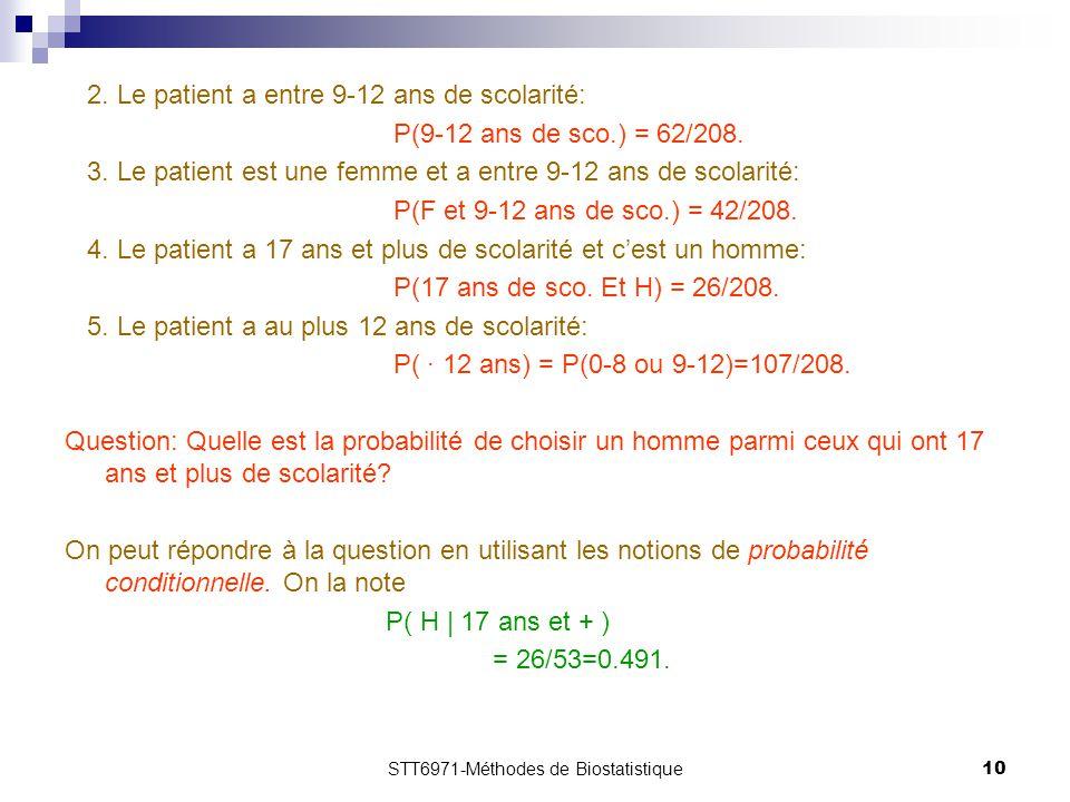STT6971-Méthodes de Biostatistique10 2. Le patient a entre 9-12 ans de scolarité: P(9-12 ans de sco.) = 62/208. 3. Le patient est une femme et a entre