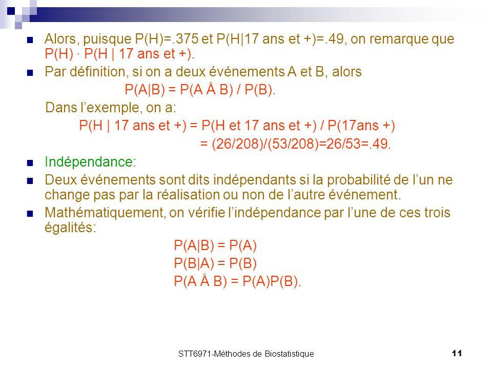 STT6971-Méthodes de Biostatistique11 Alors, puisque P(H)=.375 et P(H|17 ans et +)=.49, on remarque que P(H) · P(H | 17 ans et +). Par définition, si o