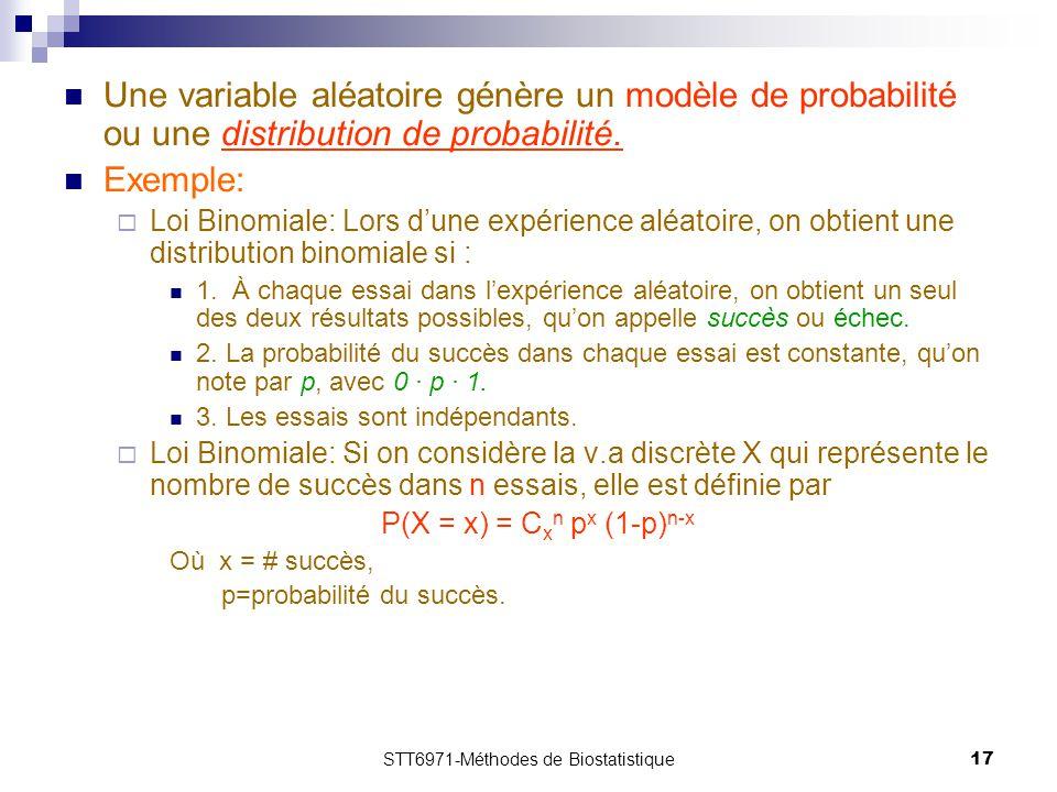 STT6971-Méthodes de Biostatistique17 Une variable aléatoire génère un modèle de probabilité ou une distribution de probabilité. Exemple:  Loi Binomia