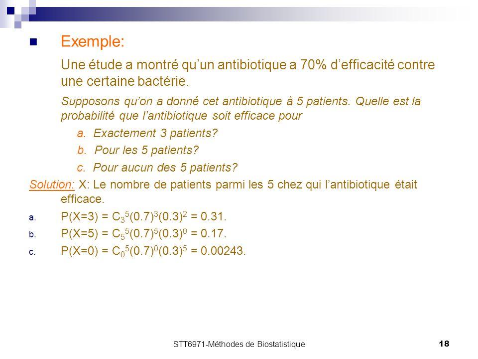 STT6971-Méthodes de Biostatistique18 Exemple: Une étude a montré qu'un antibiotique a 70% d'efficacité contre une certaine bactérie. Supposons qu'on a
