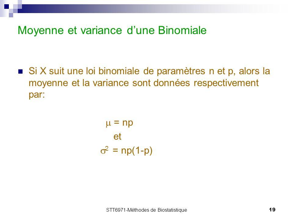 STT6971-Méthodes de Biostatistique19 Moyenne et variance d'une Binomiale Si X suit une loi binomiale de paramètres n et p, alors la moyenne et la vari