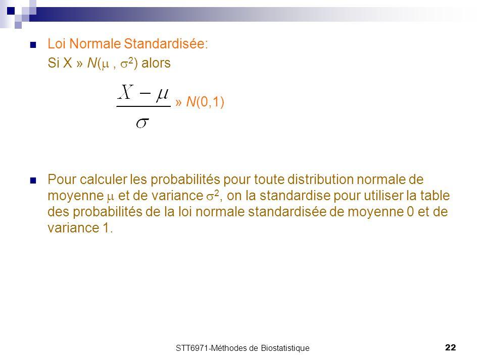 STT6971-Méthodes de Biostatistique22 Loi Normale Standardisée: Si X » N( ,  2 ) alors » N(0,1) Pour calculer les probabilités pour toute distribution normale de moyenne  et de variance  2, on la standardise pour utiliser la table des probabilités de la loi normale standardisée de moyenne 0 et de variance 1.