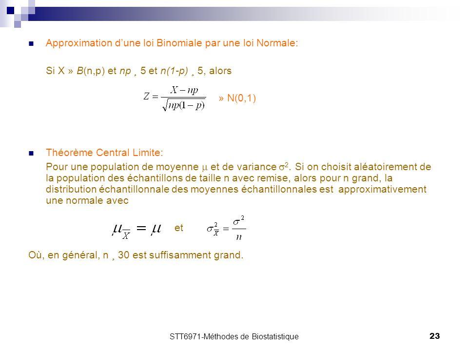 STT6971-Méthodes de Biostatistique23 Approximation d'une loi Binomiale par une loi Normale: Si X » B(n,p) et np ¸ 5 et n(1-p) ¸ 5, alors » N(0,1) Théorème Central Limite: Pour une population de moyenne  et de variance  2.