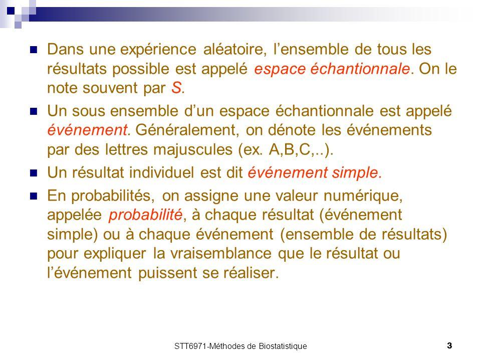 STT6971-Méthodes de Biostatistique3 Dans une expérience aléatoire, l'ensemble de tous les résultats possible est appelé espace échantionnale. On le no