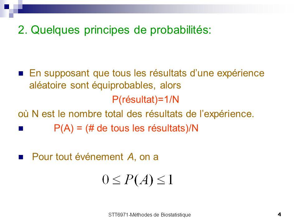 STT6971-Méthodes de Biostatistique5 1.3 Exemple 1.1: PatientSexeAge 1 M40 2 F42 3 M51 4 F58 5 M67 6 F70  P(1)=P(2)=P(3)=P(4)=P(5)=P(6)=1/6.