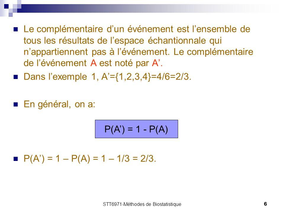 STT6971-Méthodes de Biostatistique6 Le complémentaire d'un événement est l'ensemble de tous les résultats de l'espace échantionnale qui n'appartiennent pas à l'événement.