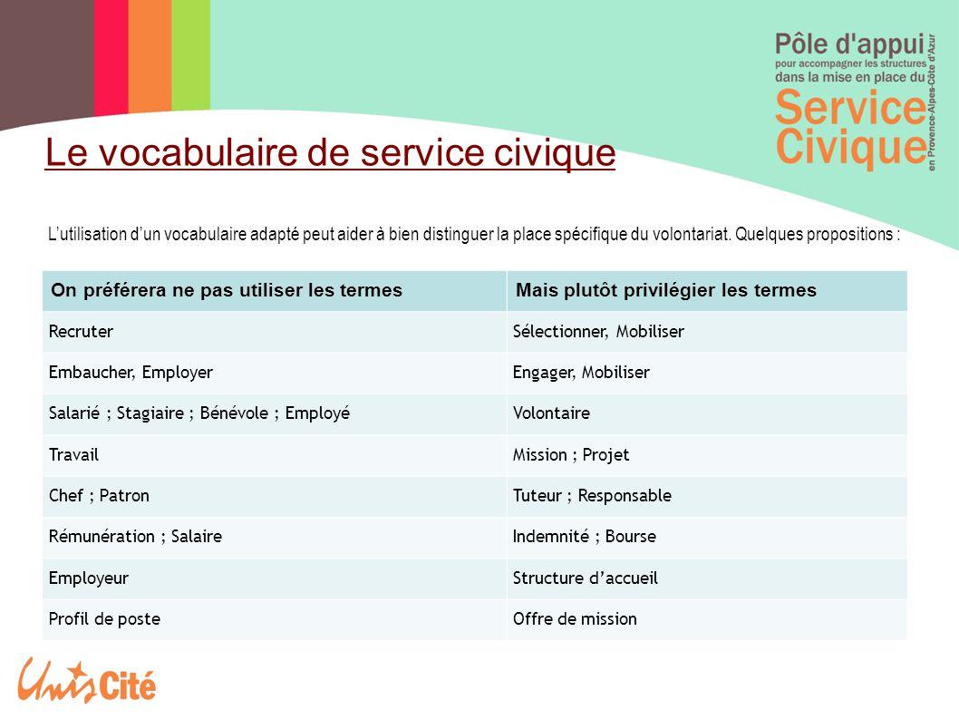 Le vocabulaire de service civique L'utilisation d'un vocabulaire adapté peut aider à bien distinguer la place spécifique du volontariat.