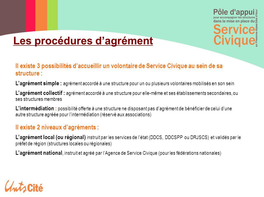 Les procédures d'agrément ll existe 3 possibilités d'accueillir un volontaire de Service Civique au sein de sa structure : L'agrément simple : agrémen