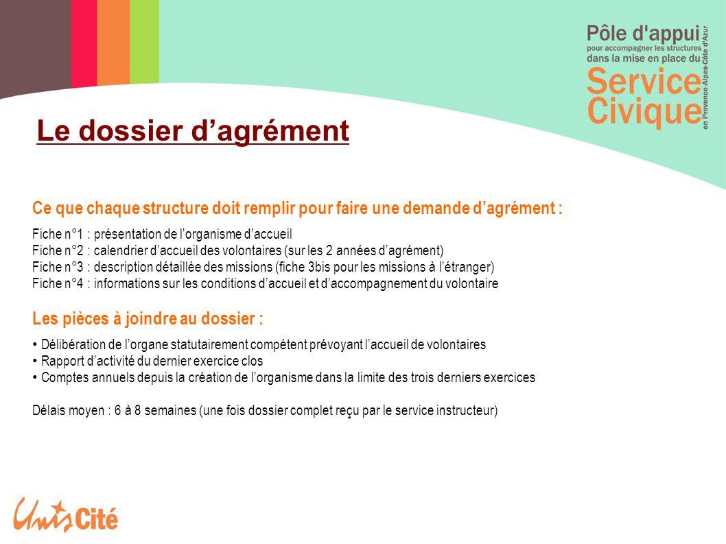 Le dossier d'agrément Ce que chaque structure doit remplir pour faire une demande d'agrément : Fiche n°1 : présentation de l'organisme d'accueil Fiche