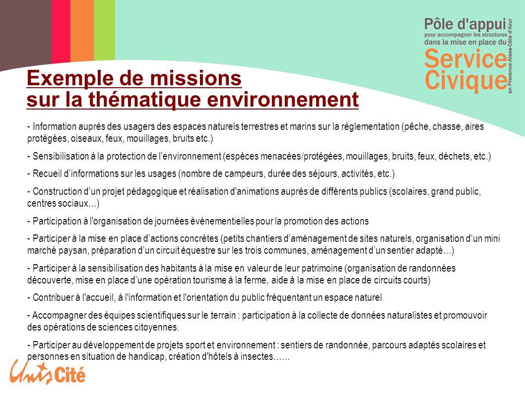 Exemple de missions sur la thématique environnement - Information auprès des usagers des espaces naturels terrestres et marins sur la règlementation (