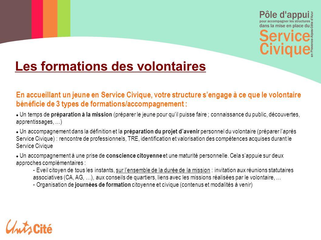 Les formations des volontaires En accueillant un jeune en Service Civique, votre structure s'engage à ce que le volontaire bénéficie de 3 types de for