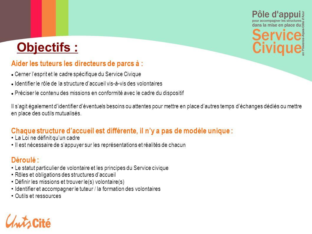 Objectifs : Aider les tuteurs les directeurs de parcs à : Cerner l'esprit et le cadre spécifique du Service Civique Identifier le rôle de la structure