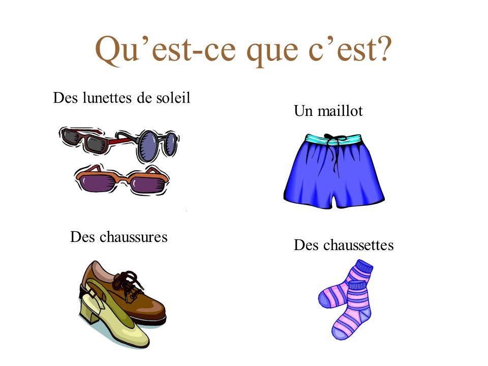 Qu'est-ce que c'est? Un chemisierUne jupe Des sandales Un maillot