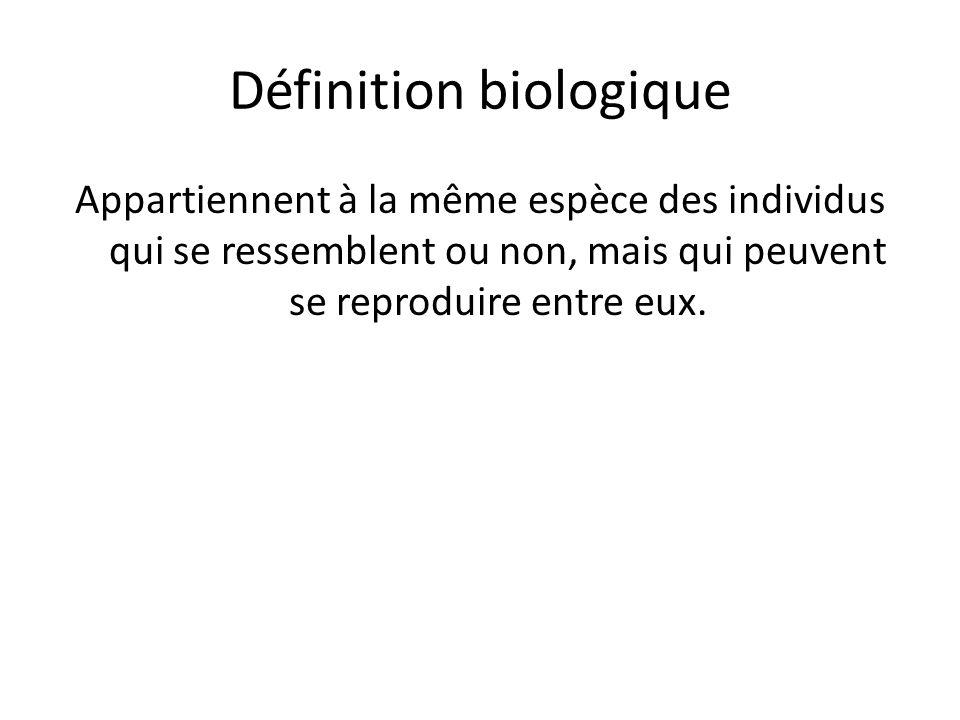 Définition biologique Appartiennent à la même espèce des individus qui se ressemblent ou non, mais qui peuvent se reproduire entre eux.