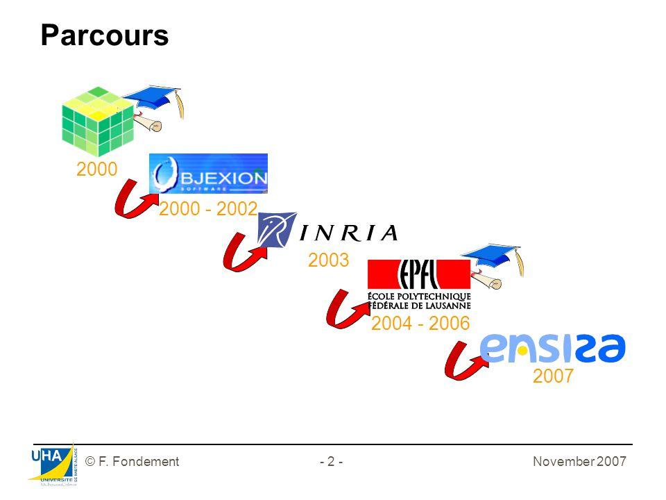 © F. Fondement- 2 - Parcours 2000 2000 - 2002 2003 2007 2004 - 2006