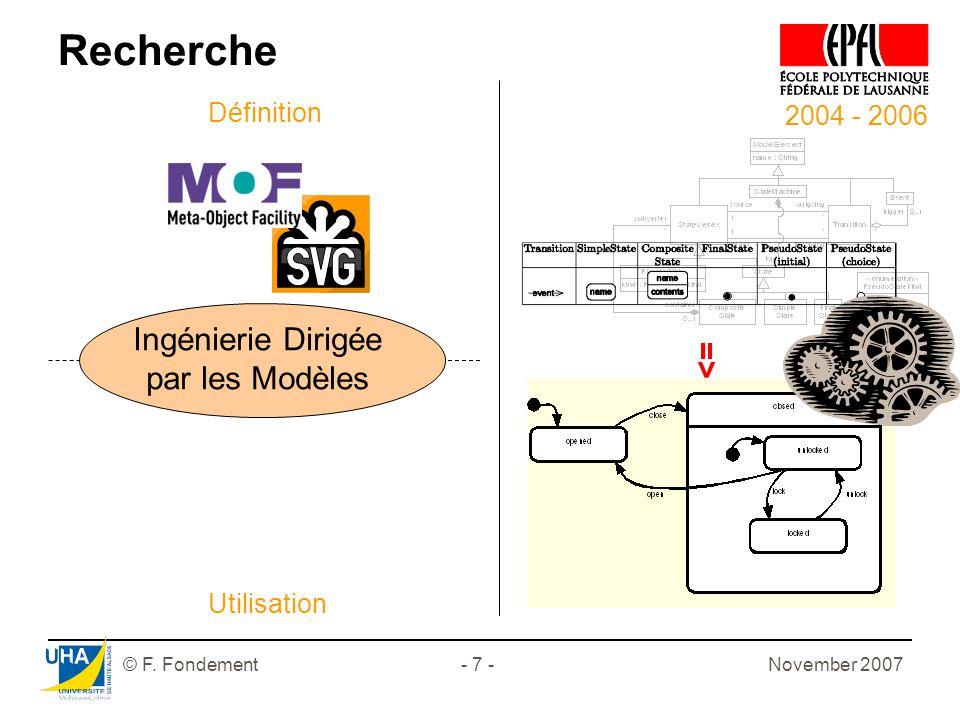 November 2007© F. Fondement- 7 - 2004 - 2006 Recherche Ingénierie Dirigée par les Modèles Définition Utilisation =>