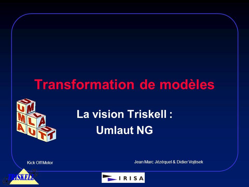 Transformation de modèles Kick Off Motor Jean Marc Jézéquel & Didier Vojtisek La vision Triskell : Umlaut NG