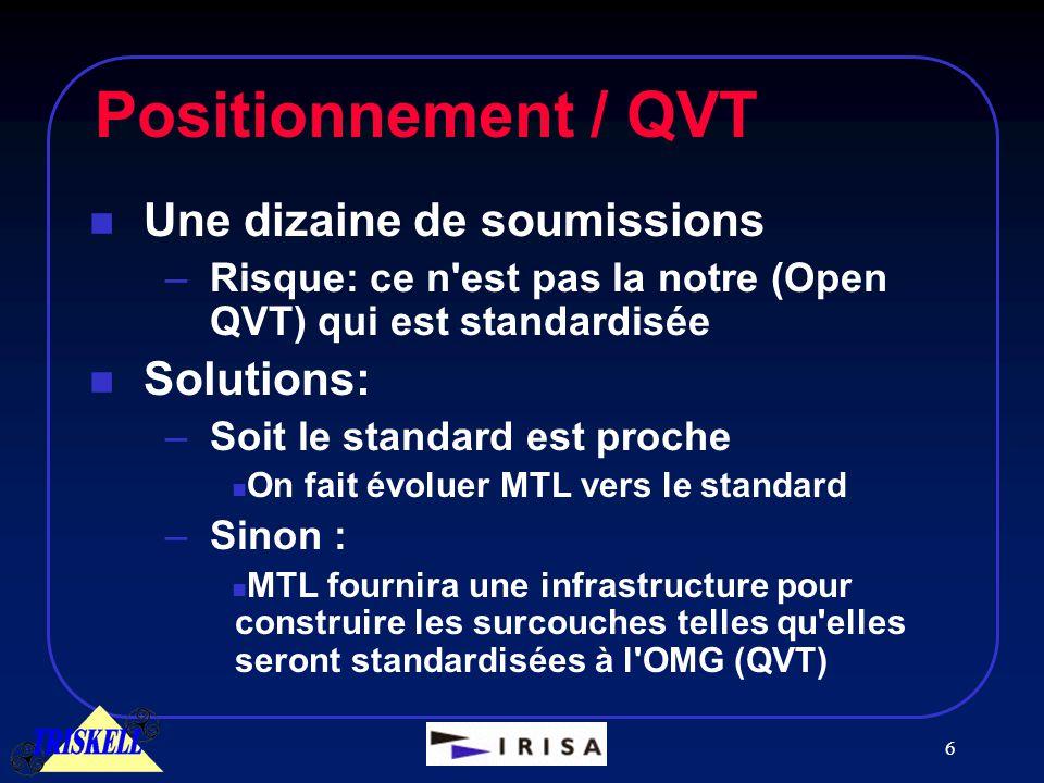 6 Positionnement / QVT n Une dizaine de soumissions –Risque: ce n est pas la notre (Open QVT) qui est standardisée n Solutions: –Soit le standard est proche n On fait évoluer MTL vers le standard –Sinon : n MTL fournira une infrastructure pour construire les surcouches telles qu elles seront standardisées à l OMG (QVT)
