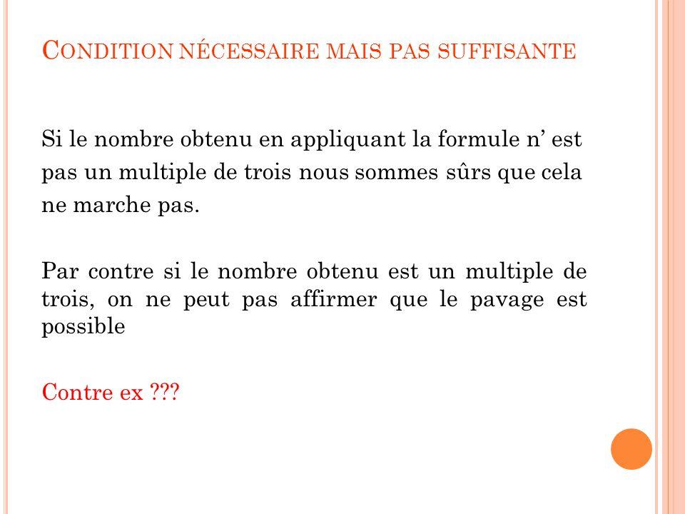 C ONDITION NÉCESSAIRE MAIS PAS SUFFISANTE Si le nombre obtenu en appliquant la formule n' est pas un multiple de trois nous sommes sûrs que cela ne ma