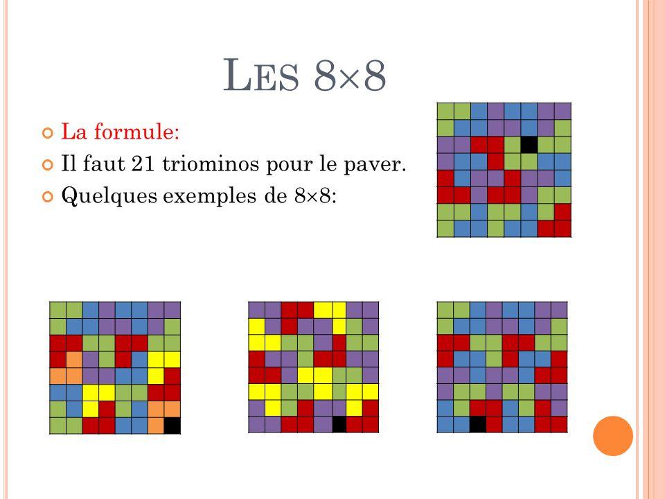 L ES 8  8 La formule: Il faut 21 triominos pour le paver. Quelques exemples de 8  8: