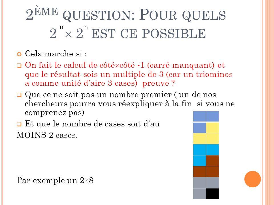 2 ÈME QUESTION : P OUR QUELS 2  2 EST CE POSSIBLE Cela marche si :  On fait le calcul de côté  côté -1 (carré manquant) et que le résultat sois un