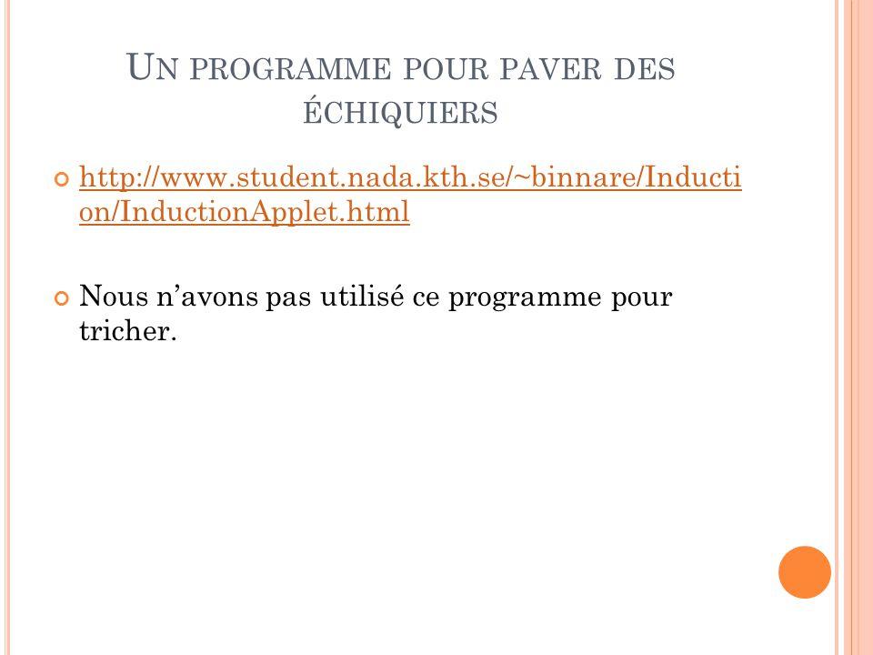 U N PROGRAMME POUR PAVER DES ÉCHIQUIERS http://www.student.nada.kth.se/~binnare/Inducti on/InductionApplet.html Nous n'avons pas utilisé ce programme