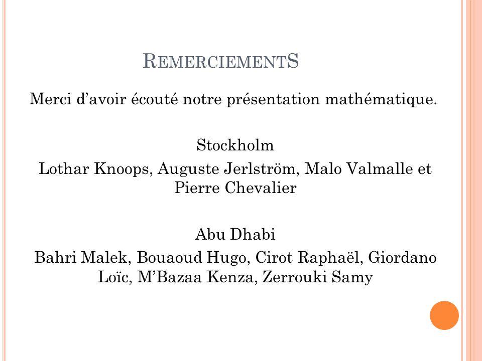 R EMERCIEMENT S Merci d'avoir écouté notre présentation mathématique. Stockholm Lothar Knoops, Auguste Jerlström, Malo Valmalle et Pierre Chevalier Ab