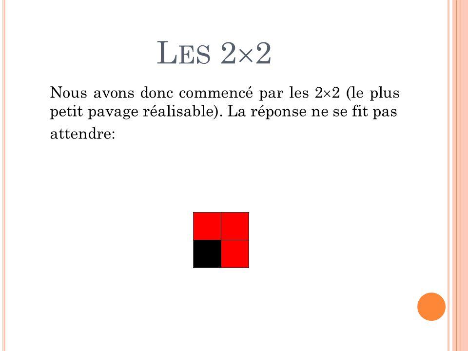L ES 2  2 Nous avons donc commencé par les 2  2 (le plus petit pavage réalisable). La réponse ne se fit pas attendre:
