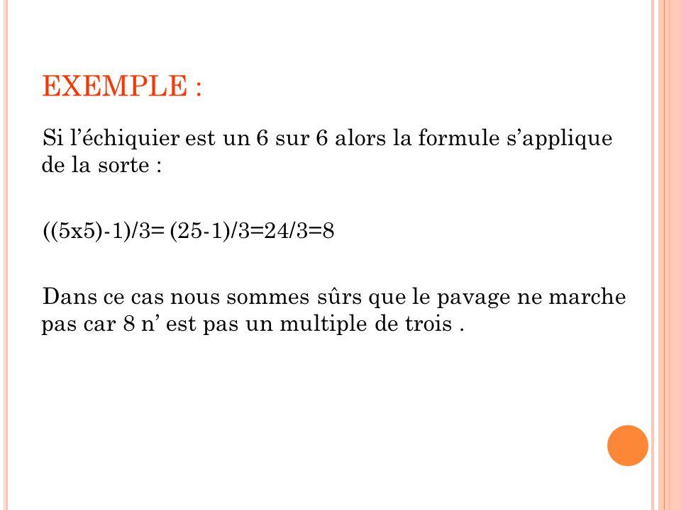 EXEMPLE : Si l'échiquier est un 6 sur 6 alors la formule s'applique de la sorte : ((5x5)-1)/3= (25-1)/3=24/3=8 Dans ce cas nous sommes sûrs que le pav