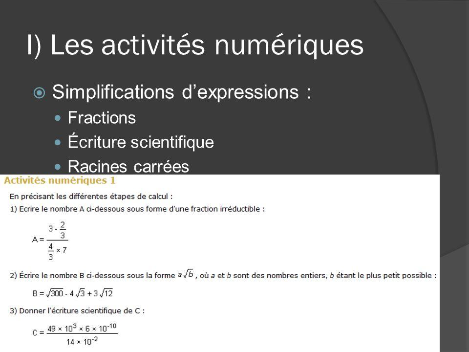 I) Les activités numériques  Simplifications d'expressions : Fractions Écriture scientifique Racines carrées