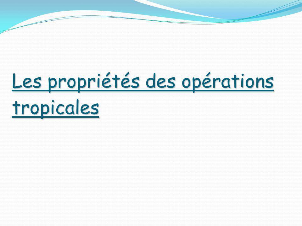 Les propriétés des opérations tropicales