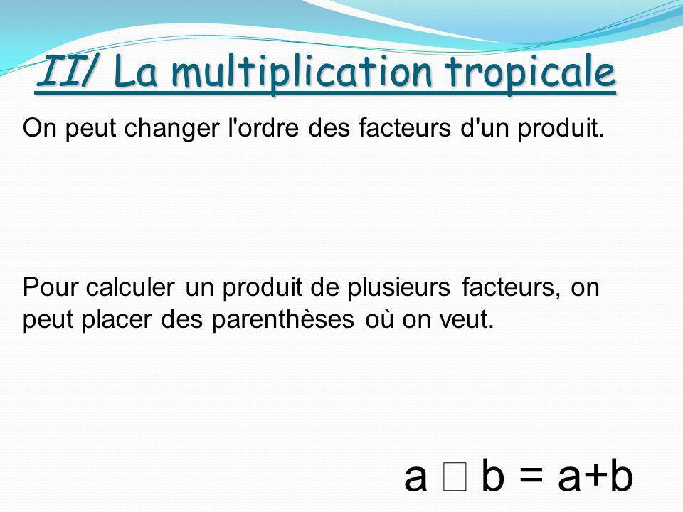 II/ La multiplication tropicale a  b = a+b On peut changer l'ordre des facteurs d'un produit. Pour calculer un produit de plusieurs facteurs, on peu
