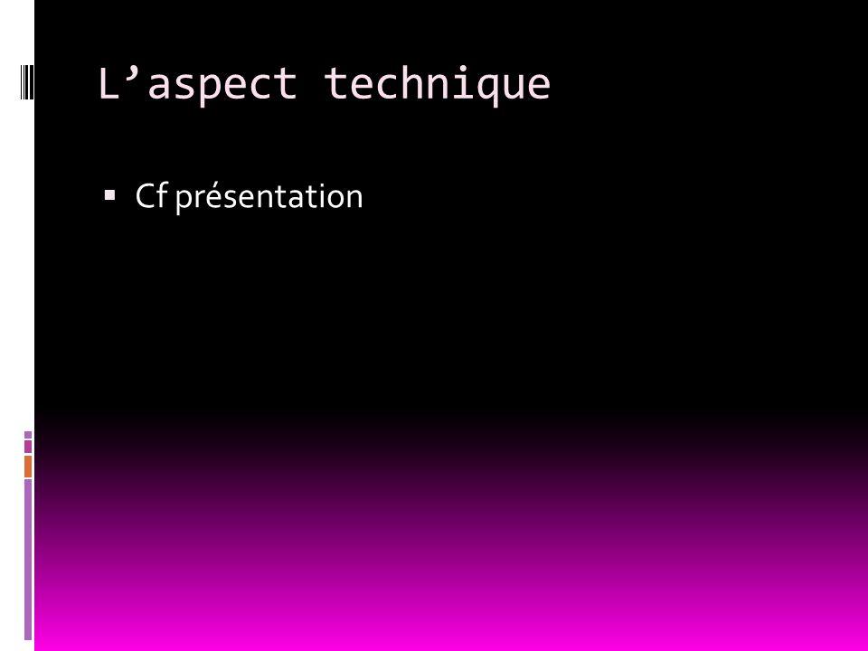 L'aspect technique  Cf présentation